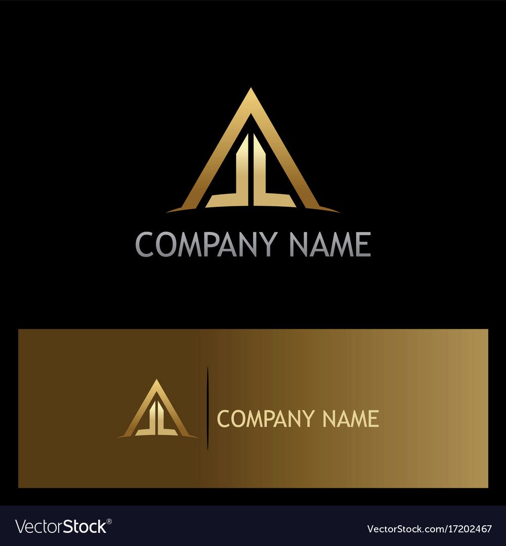 Triangle roof house construction gold logo