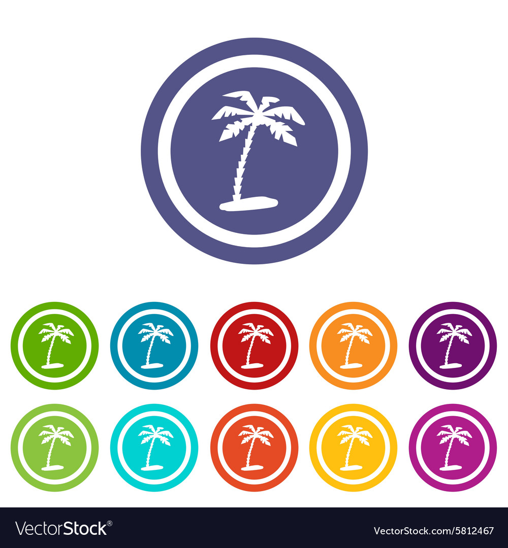 Vacation Signs Colored Set Vector Image