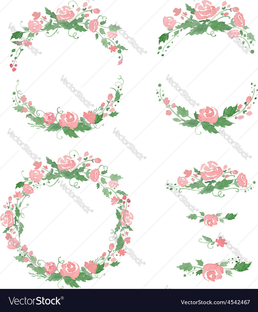 Watercolor floral frames wreath dividers