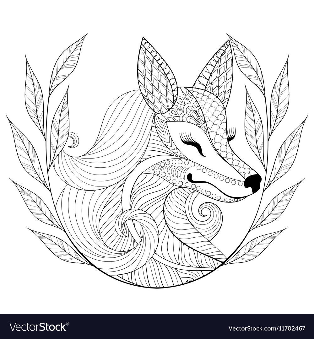 Zentangle Fox face in monochrome doodle style Hand