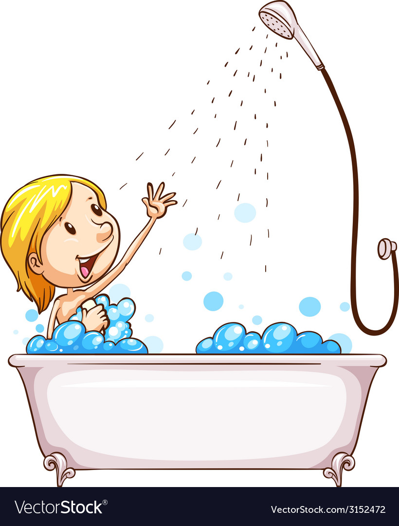 A girl enjoying the shower vector image