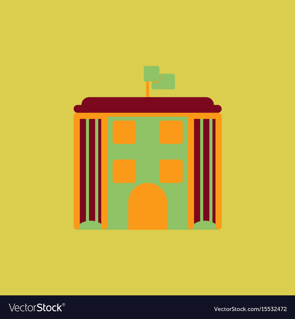 Architecture building and columns with flag vector image
