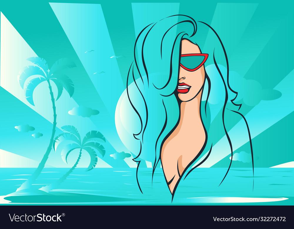 Beach girl abstract design