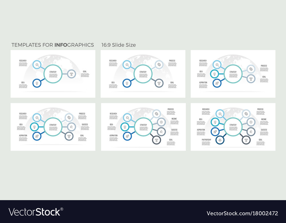 Business infographics organization charts with 3 vector image
