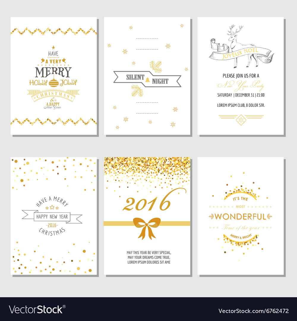 christmas and new year cards art deco style vector image
