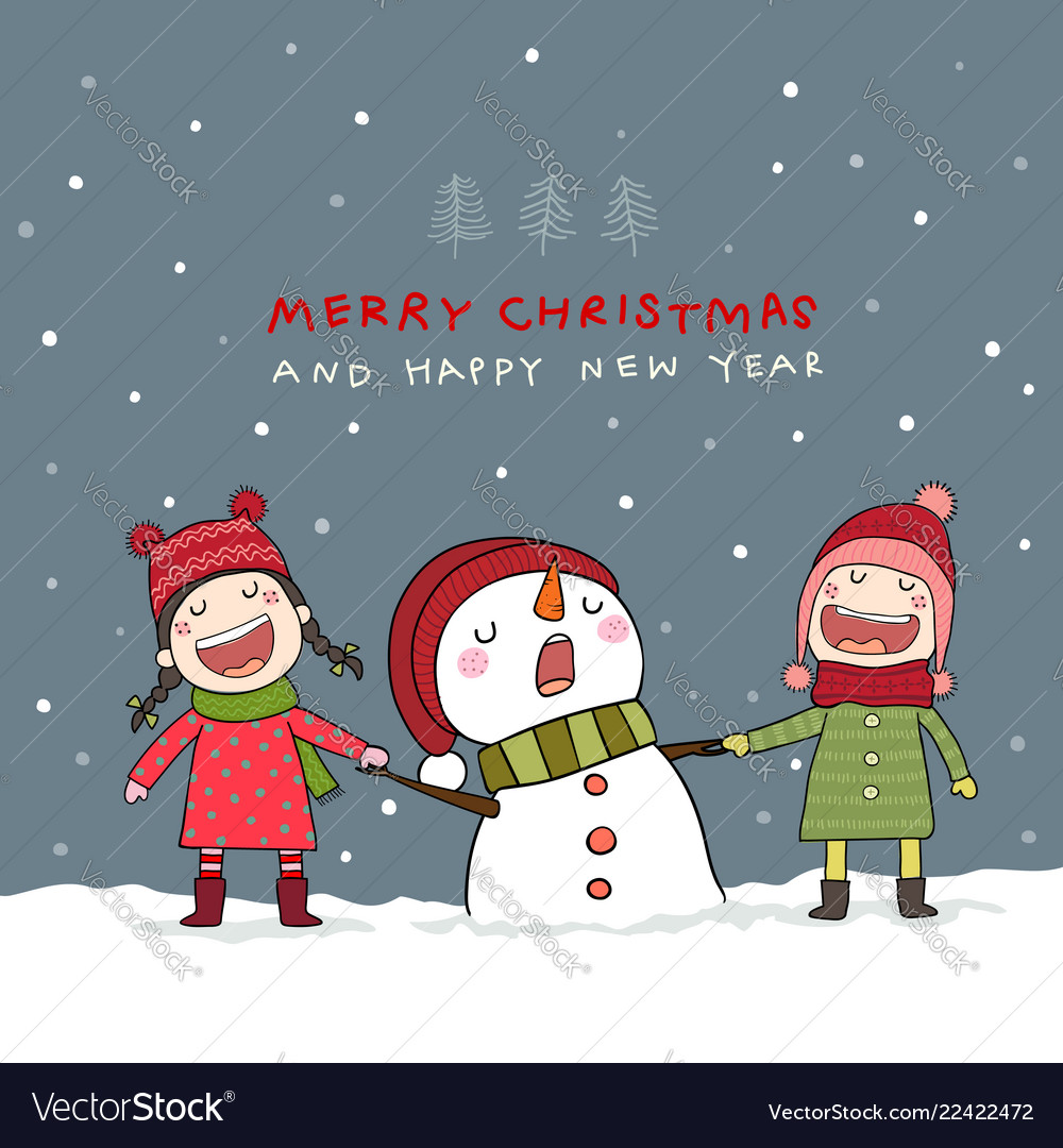 Christmas card with snowman and kids in christmas Vector Image