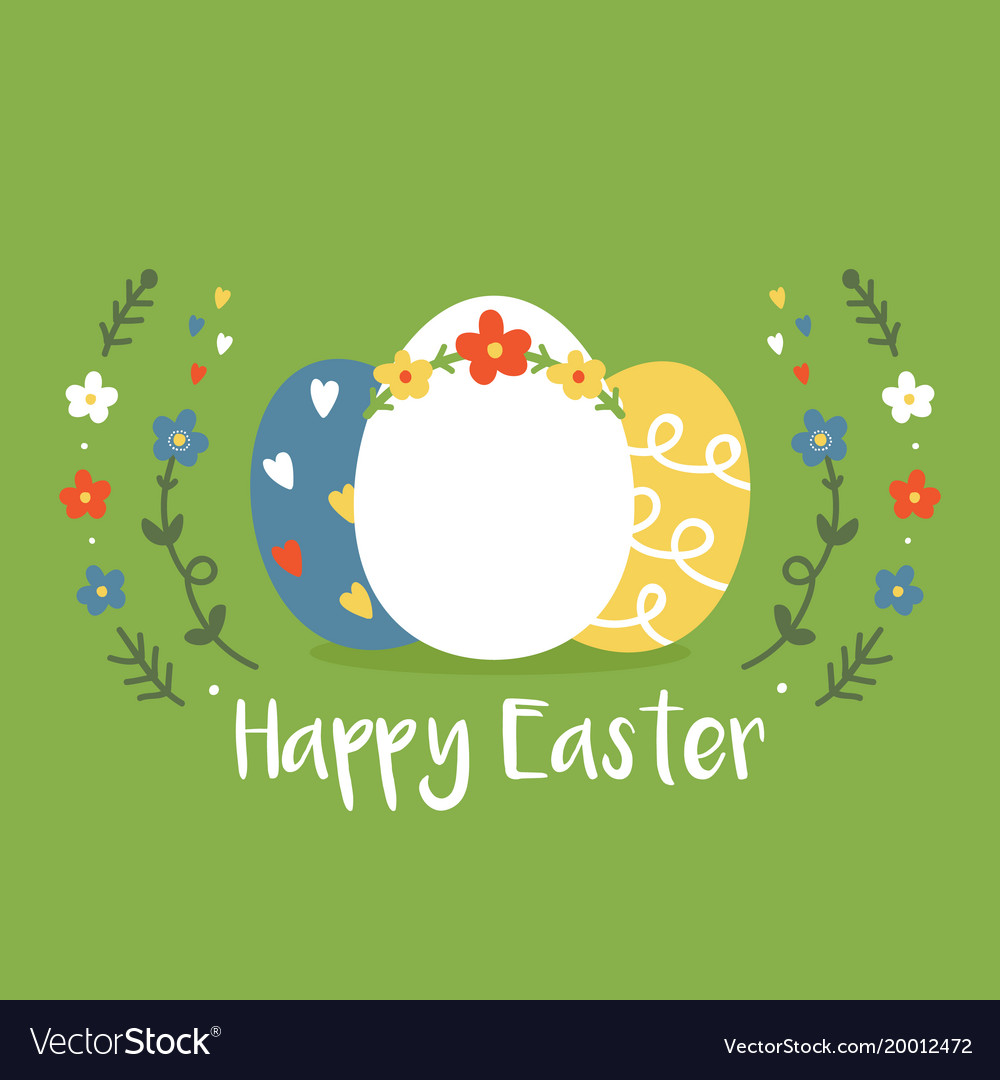 Colorful eggs and beautiful floral frame