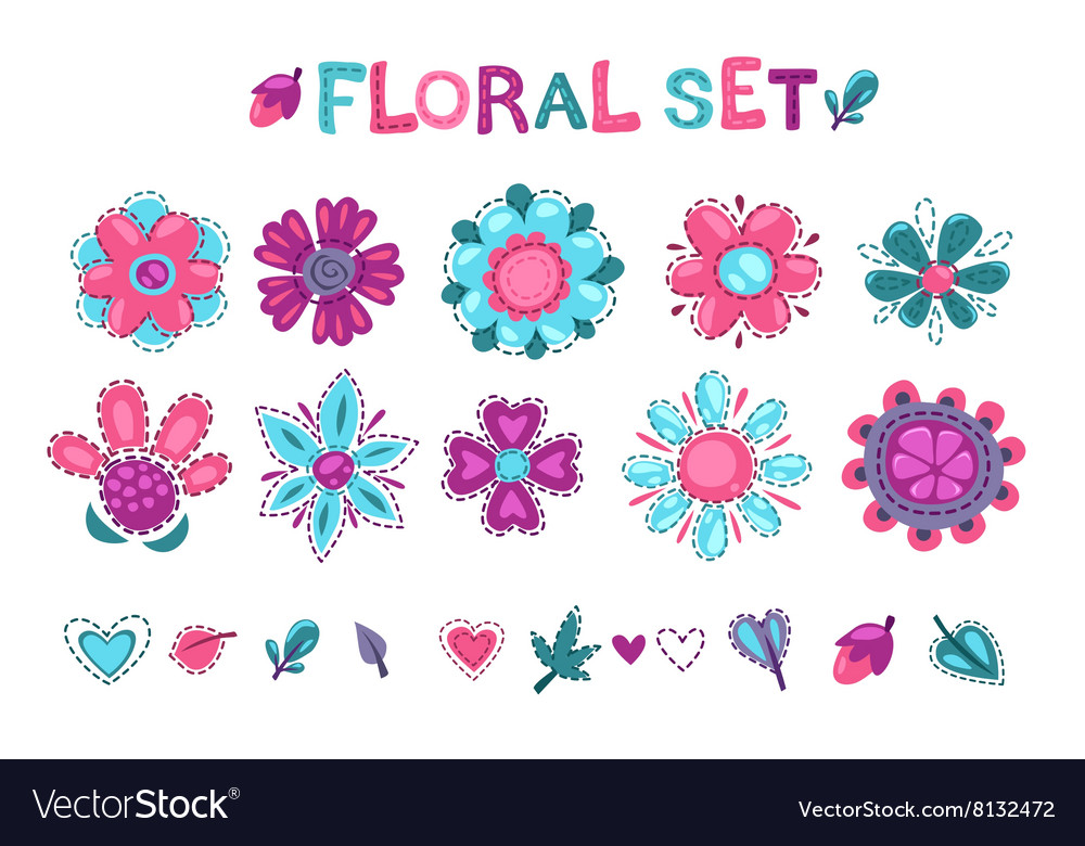 Cute floral elements set