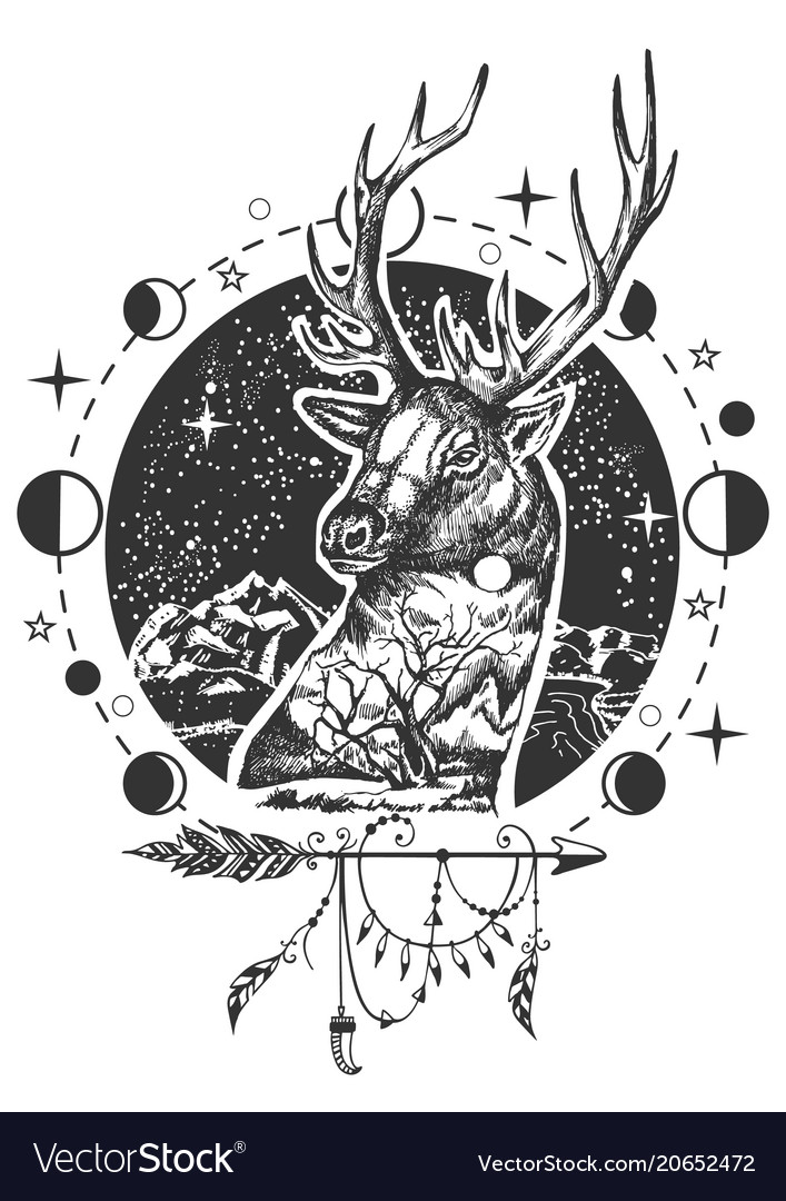 Deer head tattoo or t-shirt print design