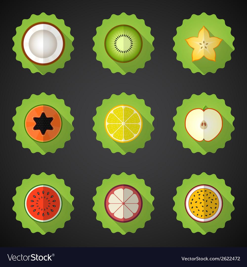 Fruit Flat Icon Set Include apple lemon papaya