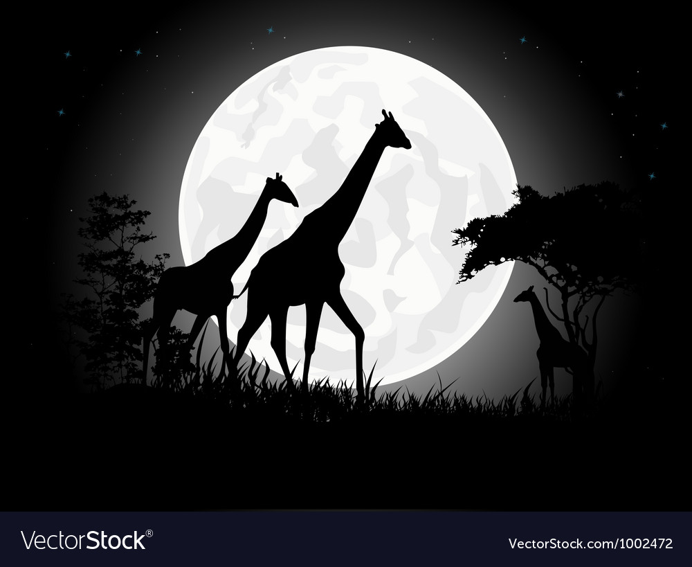 Giraffe silhouette with giant moon background