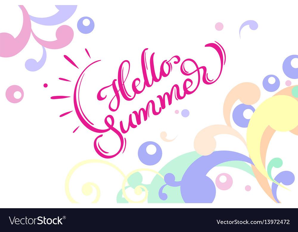 Hello summer words on white background frame