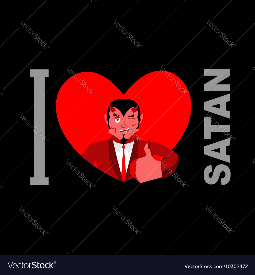 I Love Satan Symbol Of Heart And Devil With Horns Vector Image