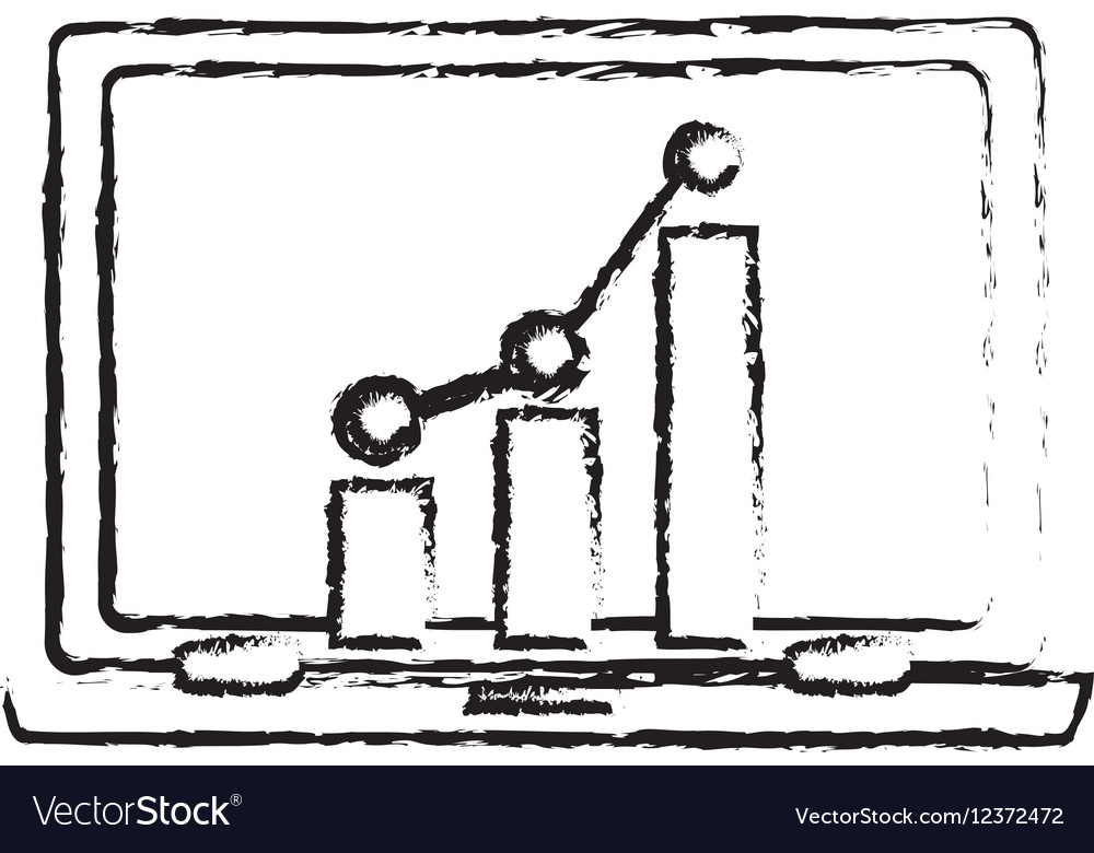 Laptop computer and bar graph chart vector image