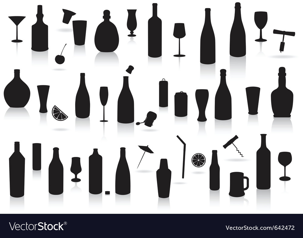 Party drinks silhouette set vector