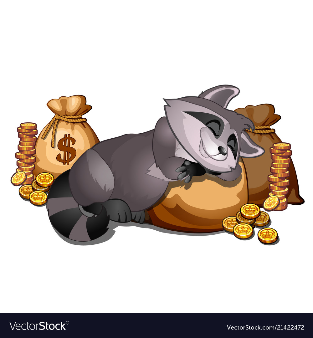 Rich raccoon sleeping on a sack of gold coins