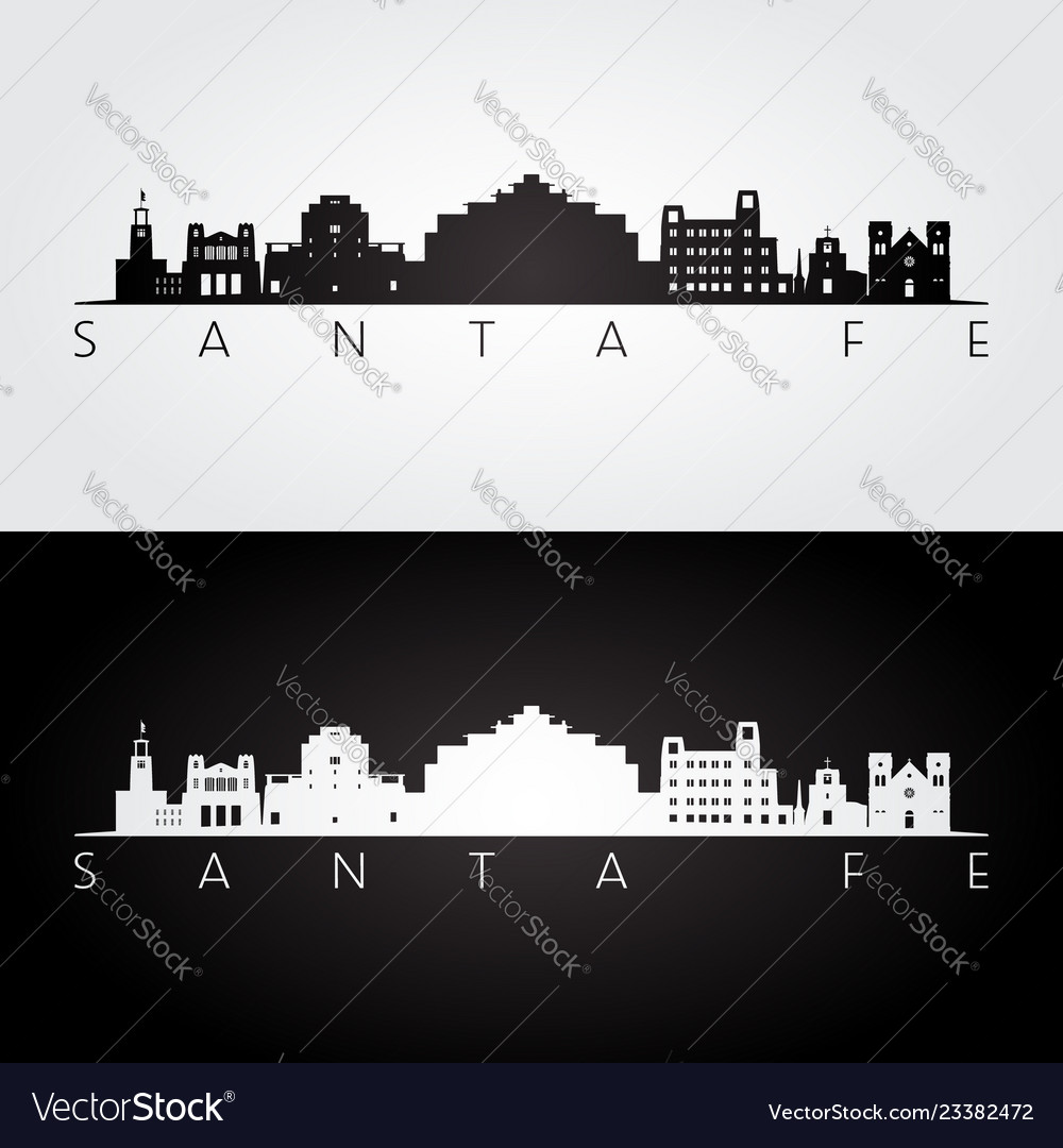 Santa fe usa skyline and landmarks silhouette