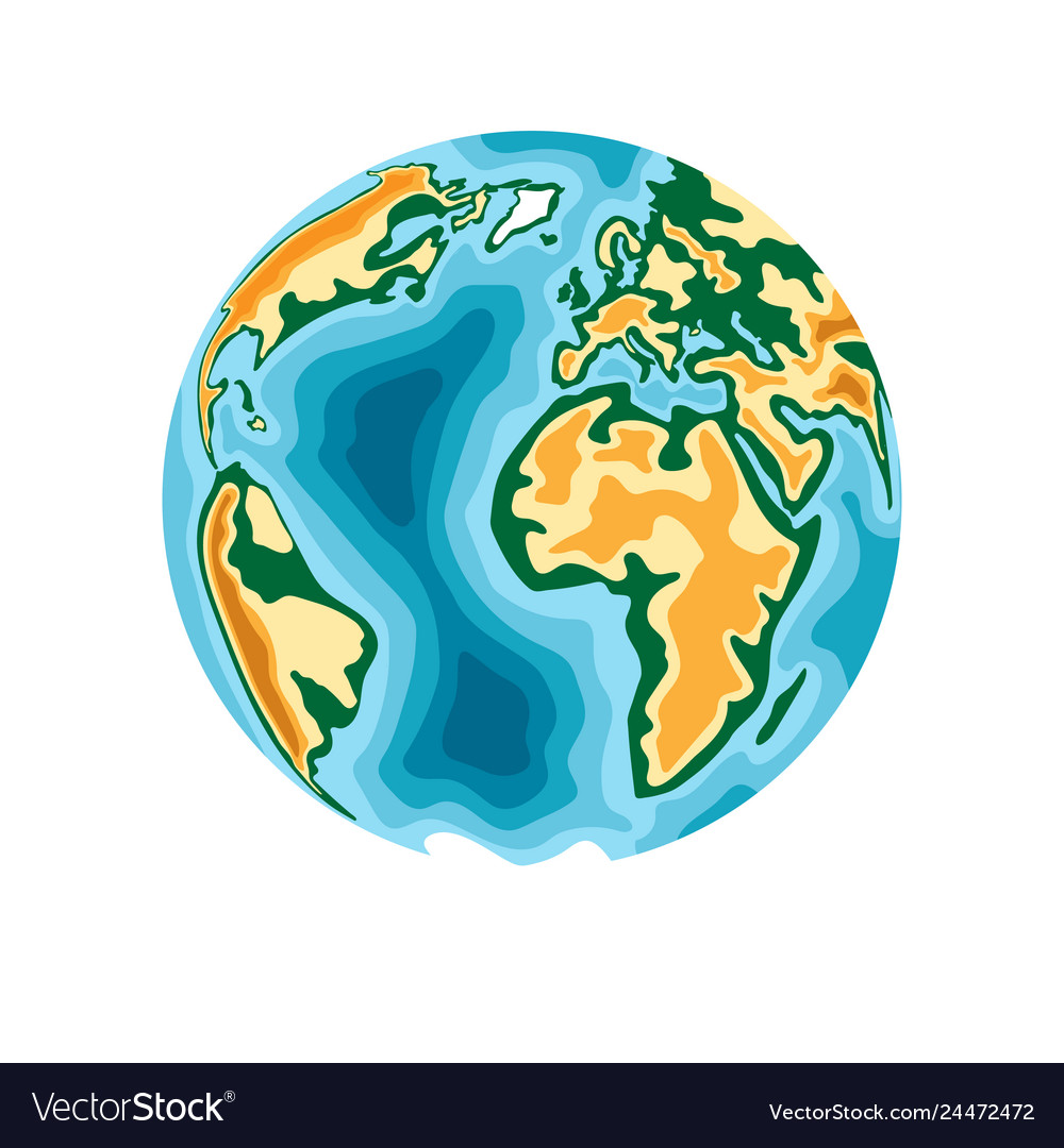 World planet earth in 3d paper cut style design