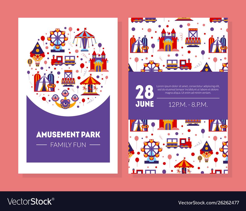 Amusement park family fun card summer fair poster