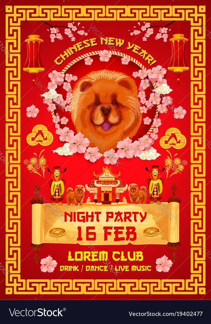 chinese new year night party invitation banner vector image