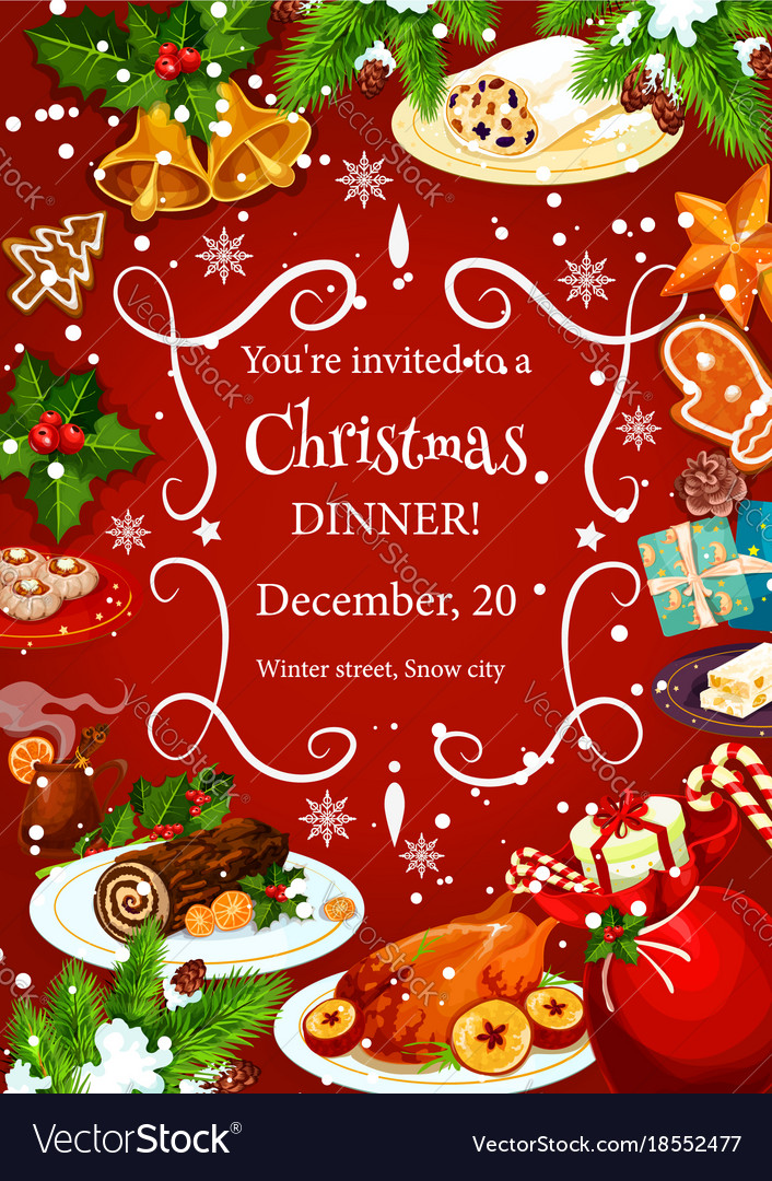 christmas dinner invitation with festive dishes vector image
