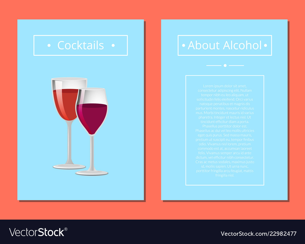 Cocktails about alcohol posters with two glasses