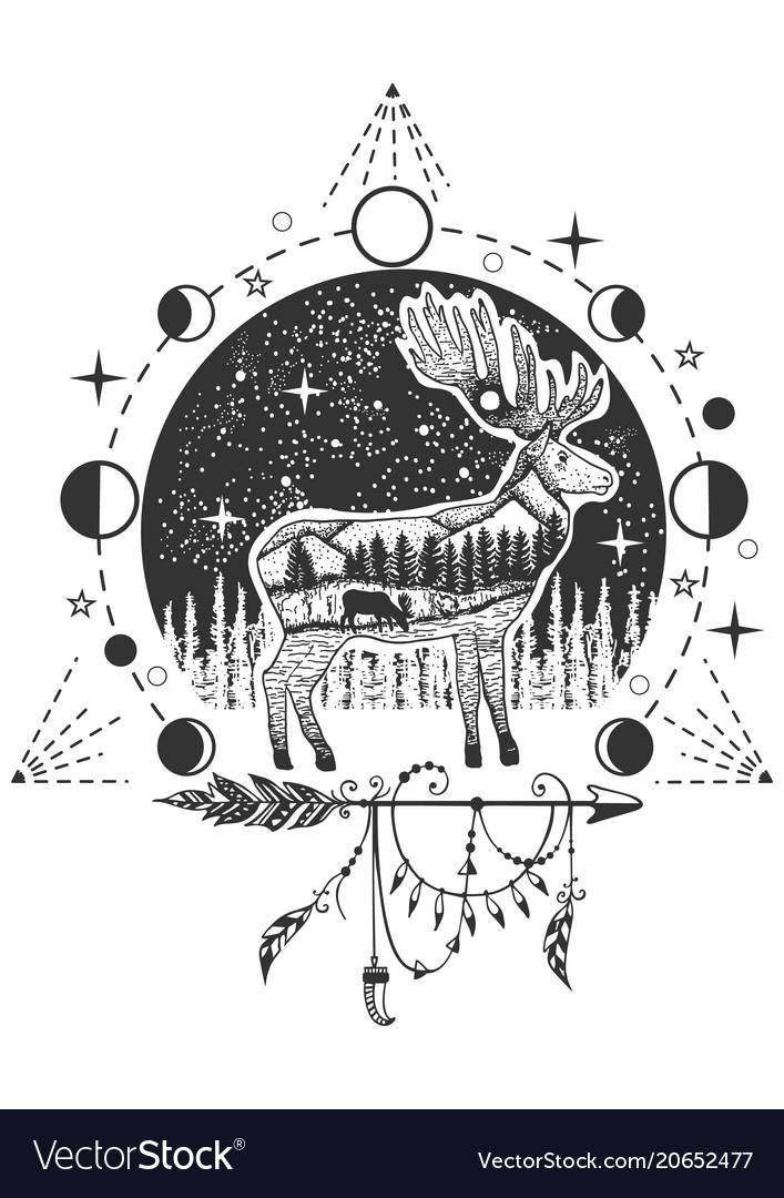 Elk tattoo or t-shirt print design