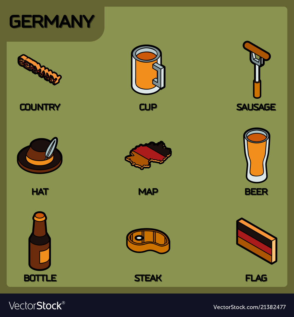 Germany color outline isometric icons