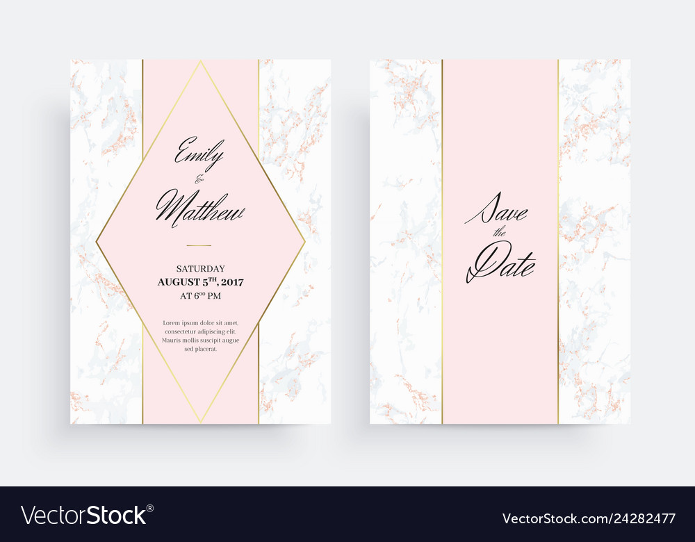 Invitation Card Template Golden Geometric Design