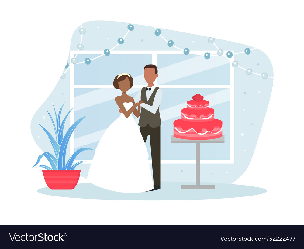 Just married couple posing with holiday cake vector