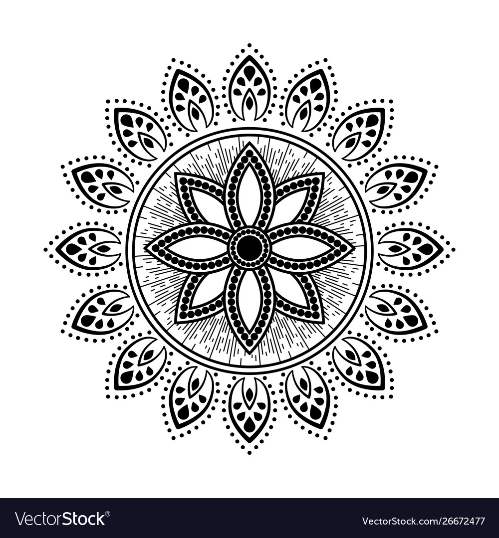 Mandala style tattoo black and white round floral