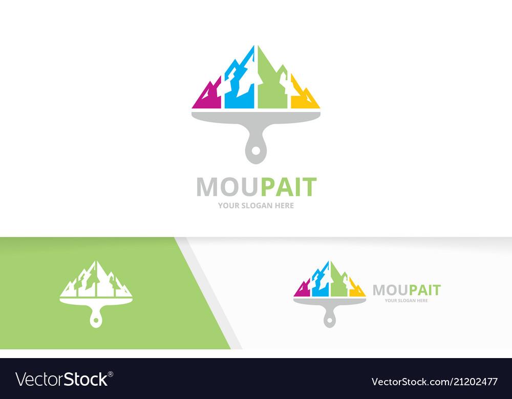 Mountain and brush logo combination nature