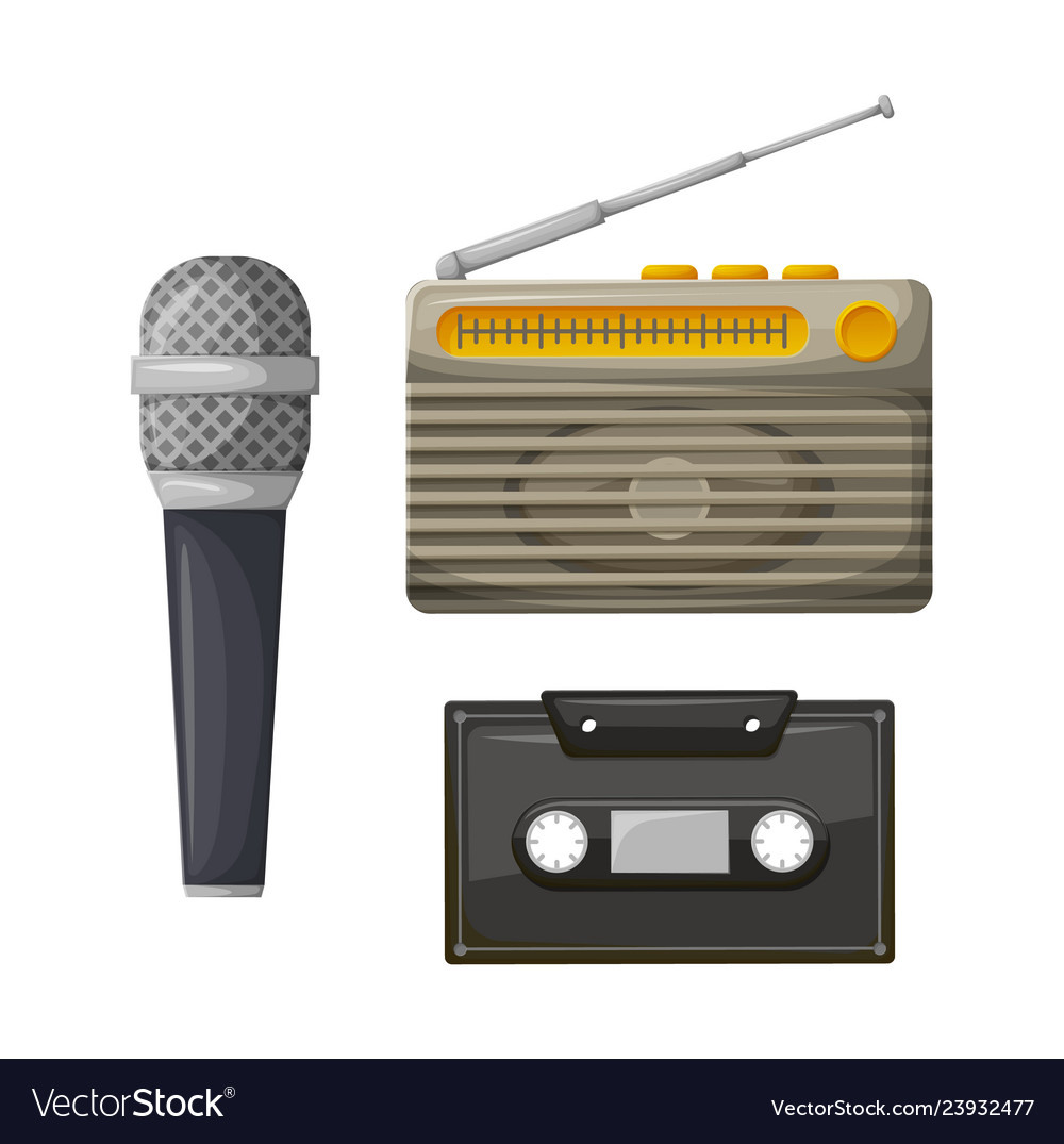 Radio with antenna and cassette with microphone