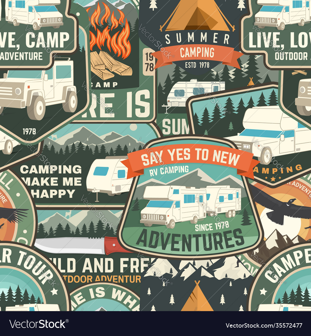 Summer camp colorful seamless pattern with rv
