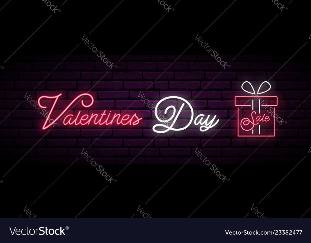 Valentine day sale neon long banner neon gift