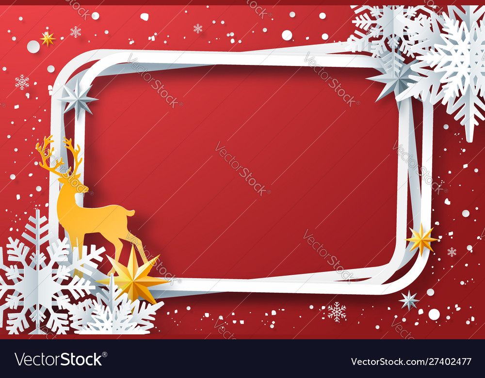 Winter frame with snowflakes and reindeer
