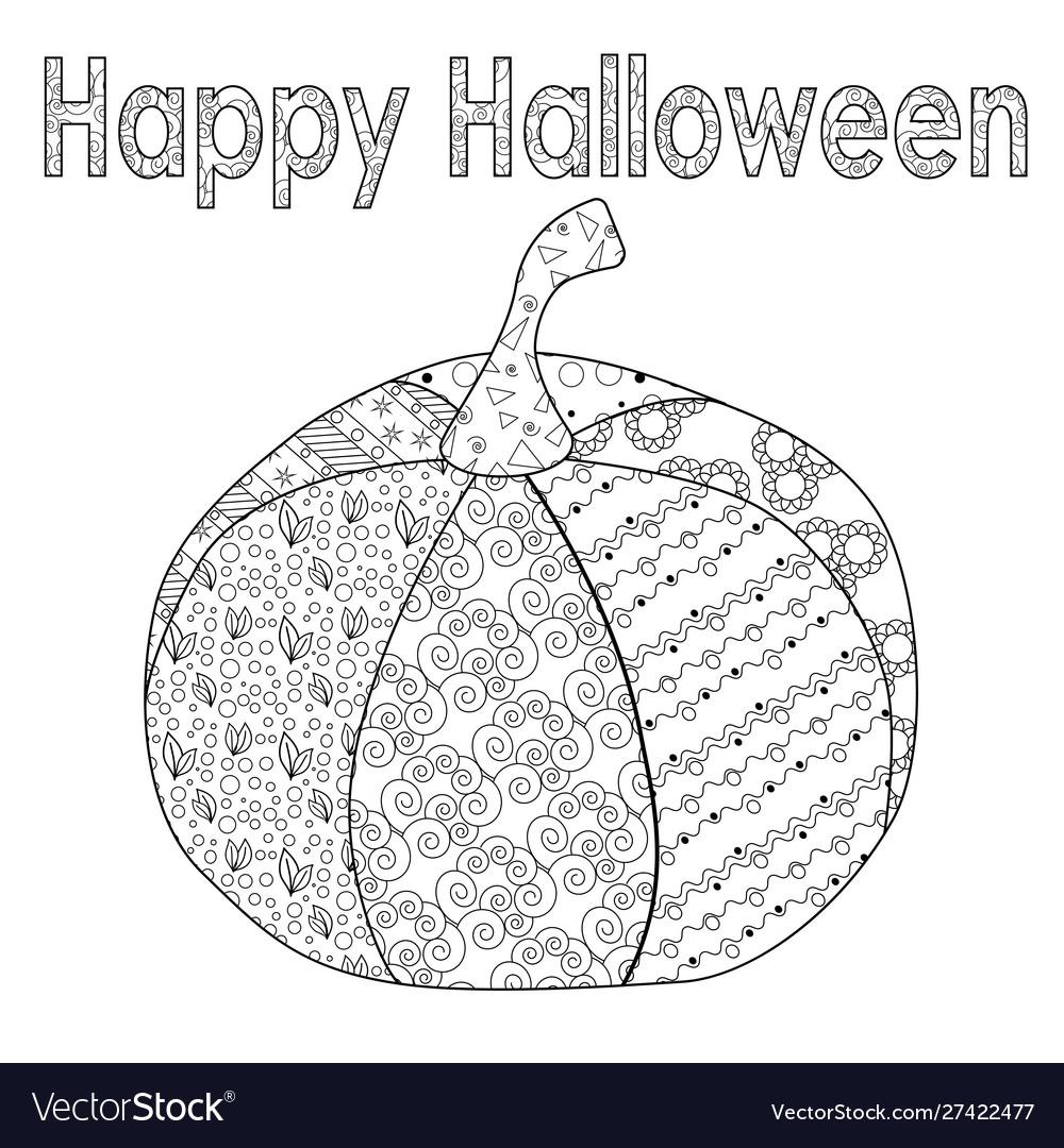 Zentangle Festive Halloween Pumpkin For Adult Vector Image