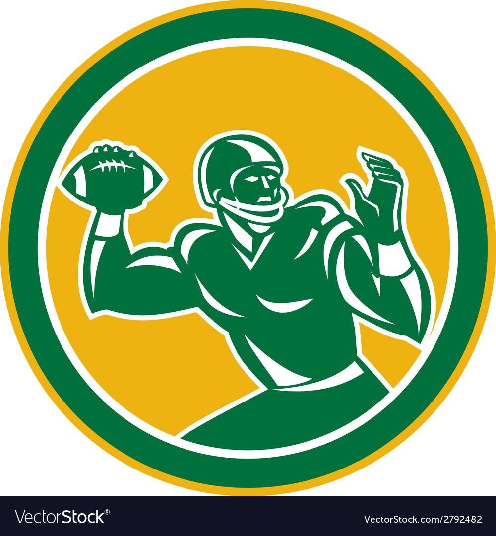 American Football Quarterback Circle Retro