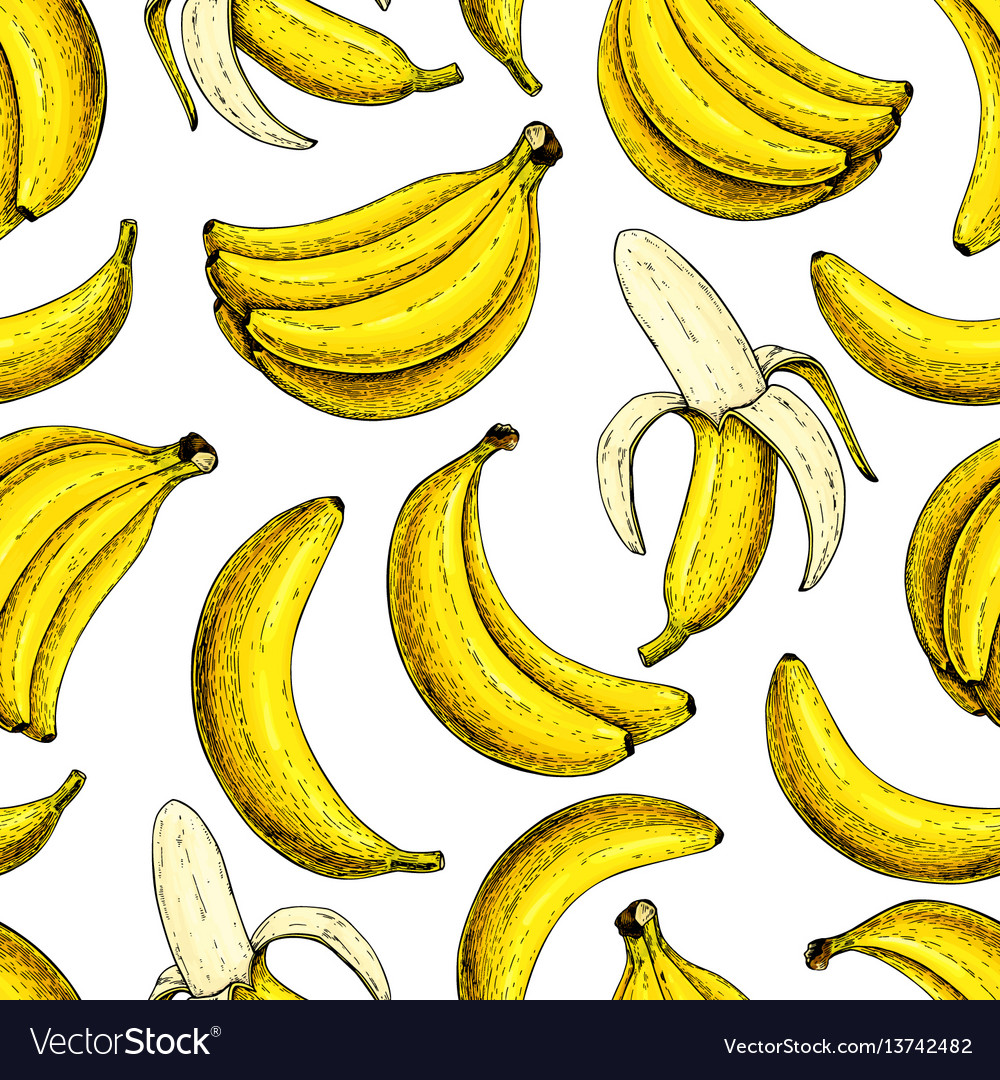Banana seamless pattern isolated hand