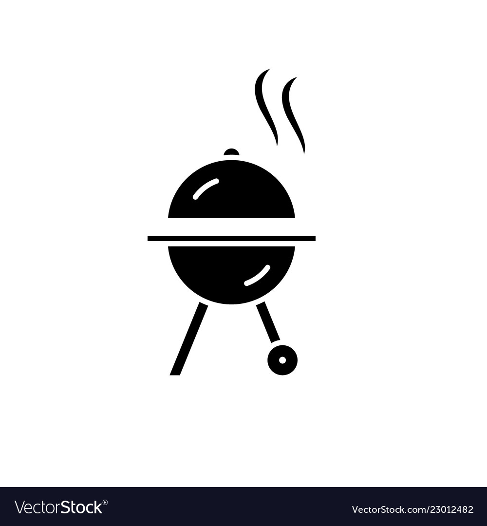 Bbq black icon sign on isolated background
