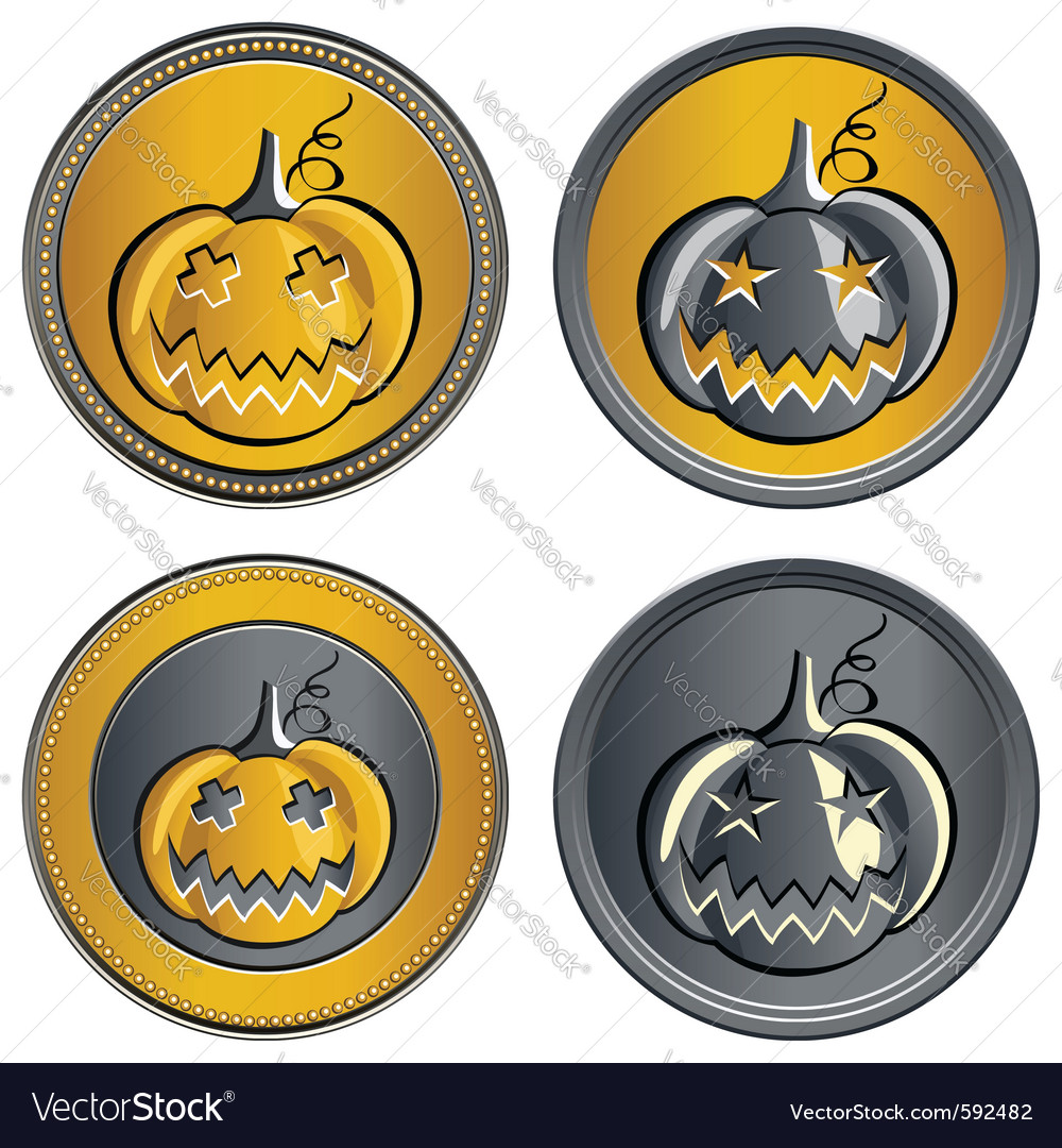 Gold and silver coins vector image