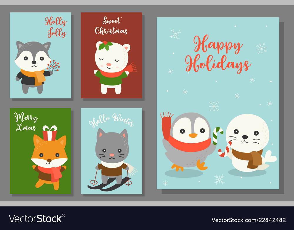 Greeting card hand drawn doodle christmas set