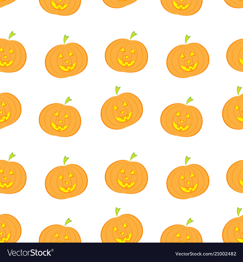 Halloween pumpkin seamless pattern in modern flat