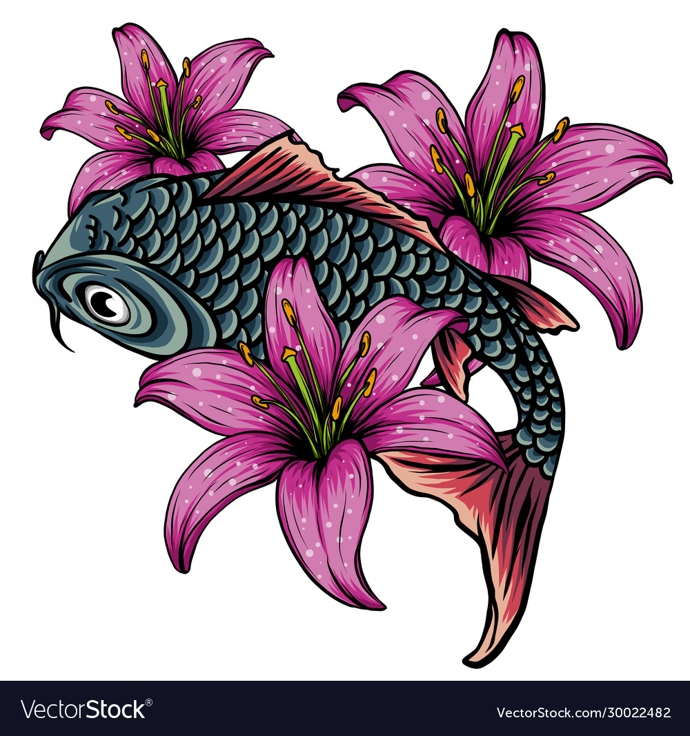 Hand drawn koi fish with flower tattoo for arm