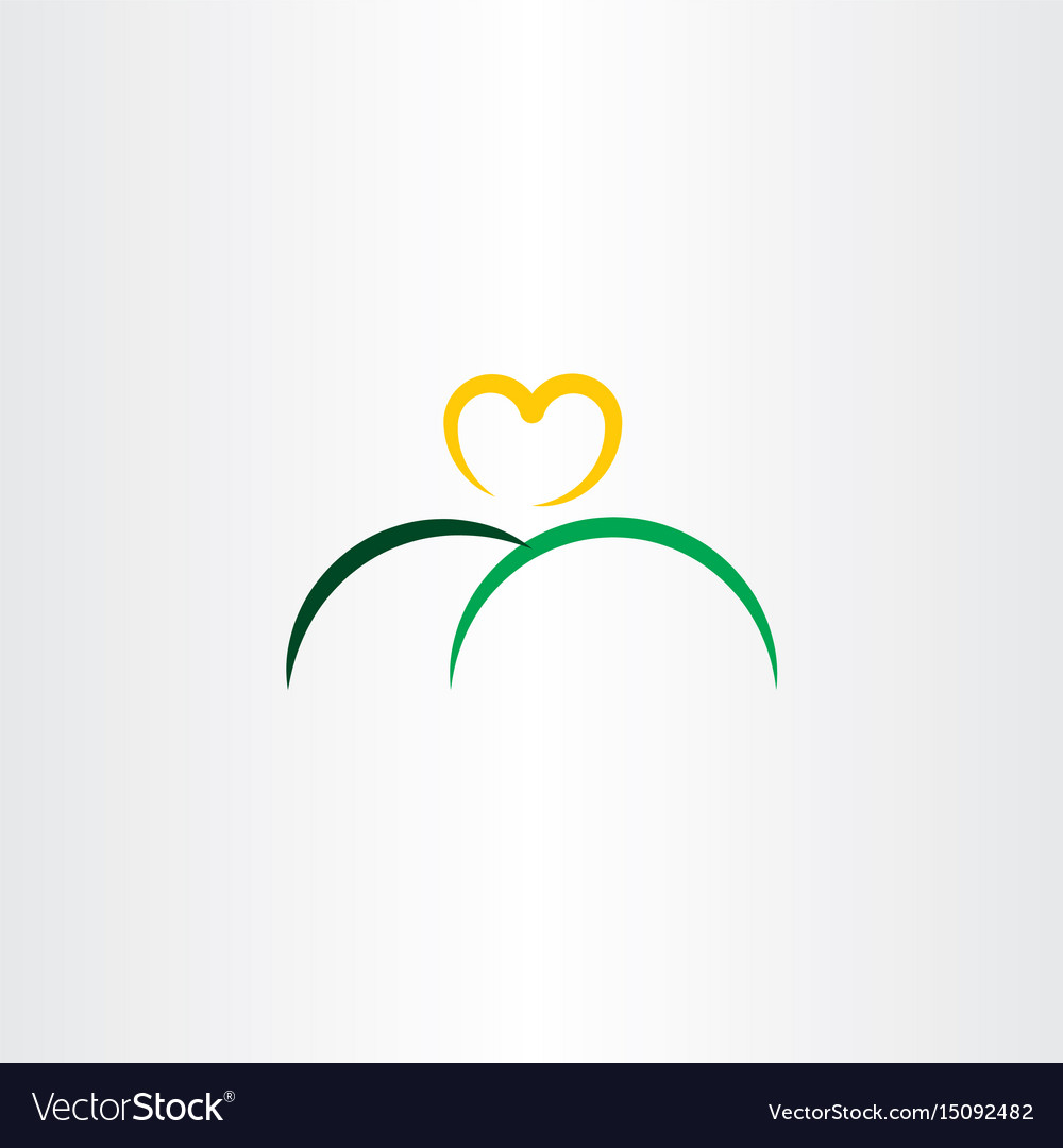 Heart sun and mountain logo icon vector image
