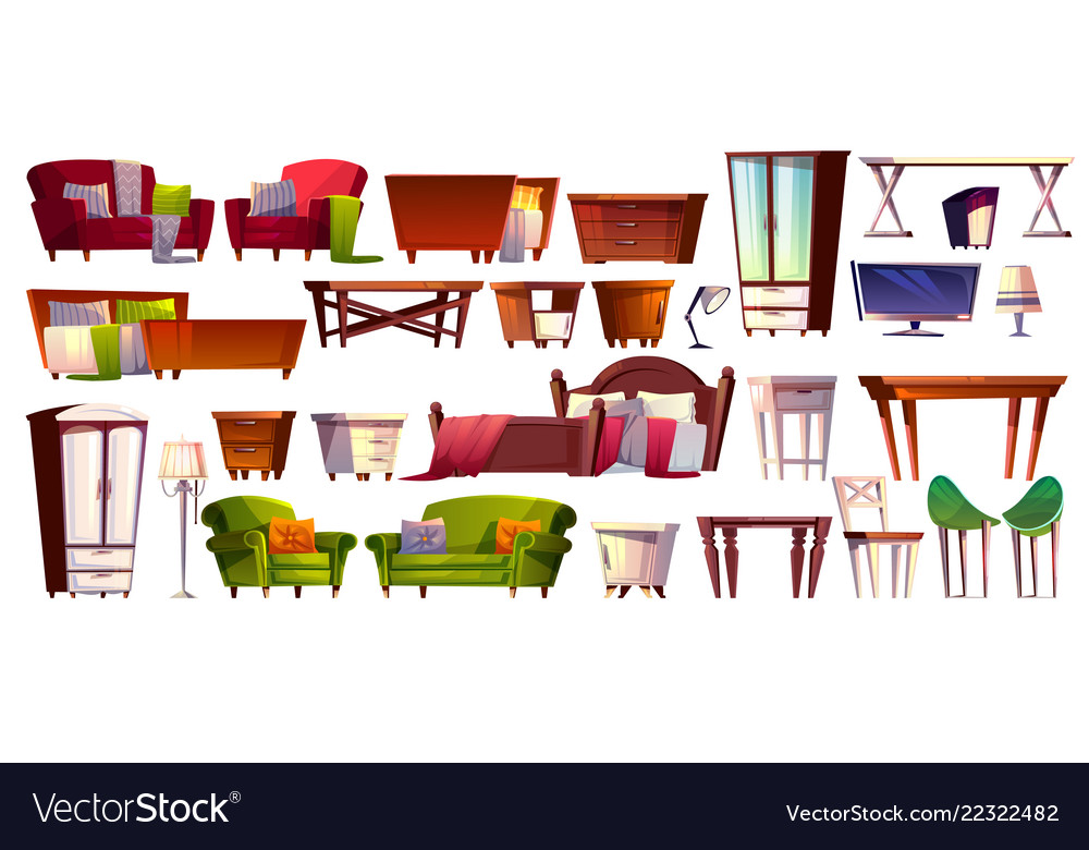 Home furniture isolated interior icons