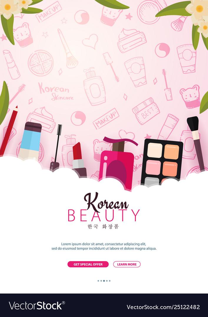 Korean Flat Cosmetics K Beauty Banner With Hand Vector Image