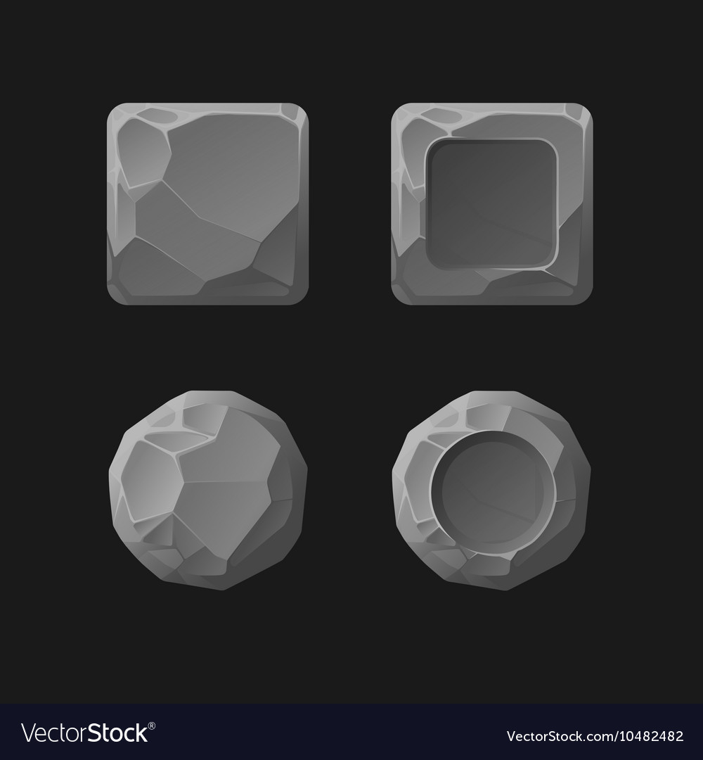 Set cartoon stone game assets