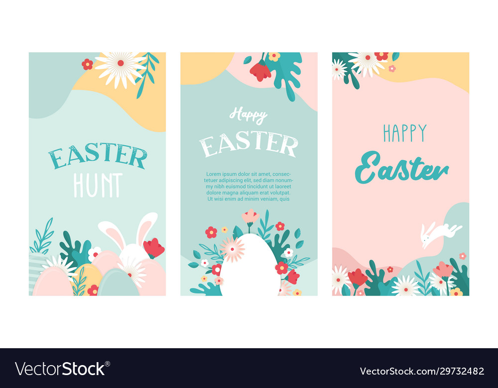 Set easter floral backgrounds with copy