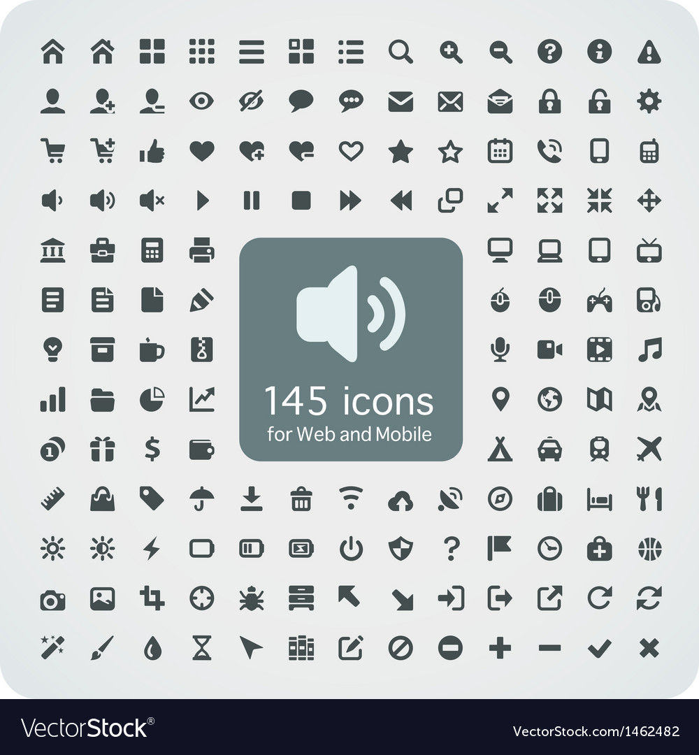 Set of 145 quality icons for Web and Mobile